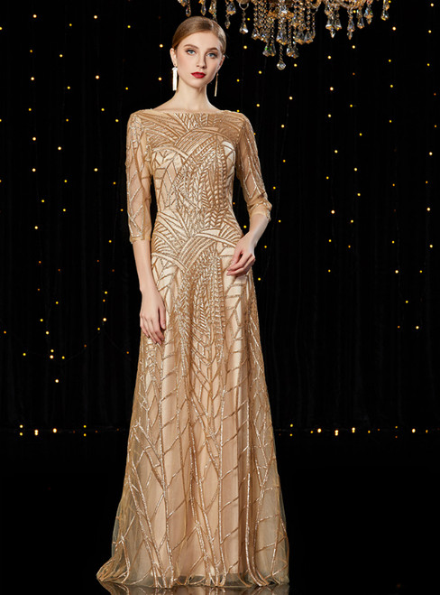A-Line Gold Sequins Half Sleeve Mother of the Bride Dress