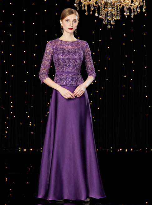A-Line Purple Satin Half Sleeve Long Mother of the Bride Dress