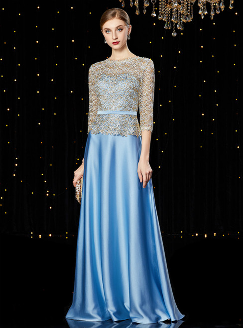 A-Line Blue Satin Half Sleeve Long Mother of the Bride Dress