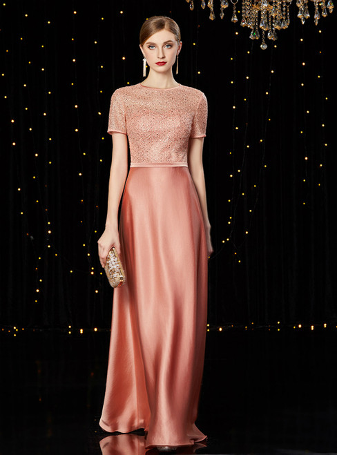 A-Line Pink Short Sleeve Sequins Long Mother of the Bride Dress