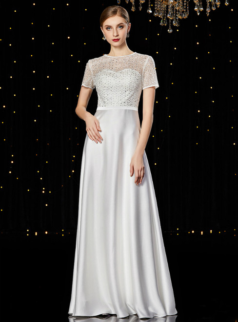 A-Line White Short Sleeve Sequins Long Mother of the Bride Dress