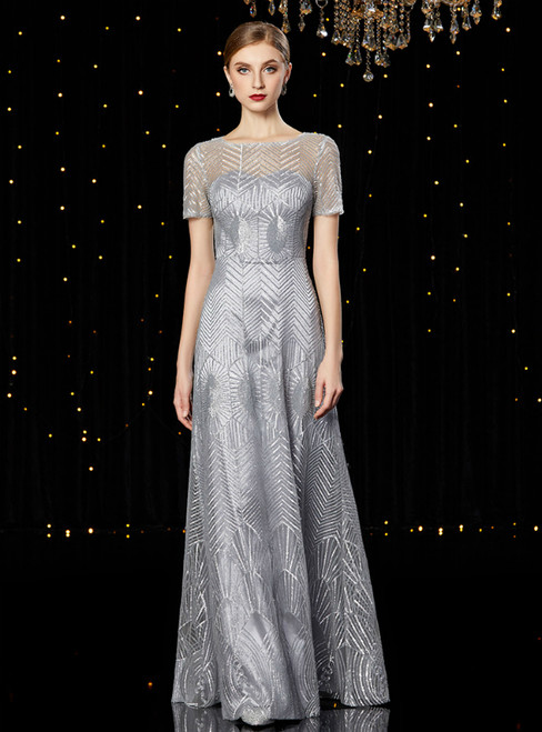 A-Line Silver Sequins Short Sleeve Mother of the Bride Dress