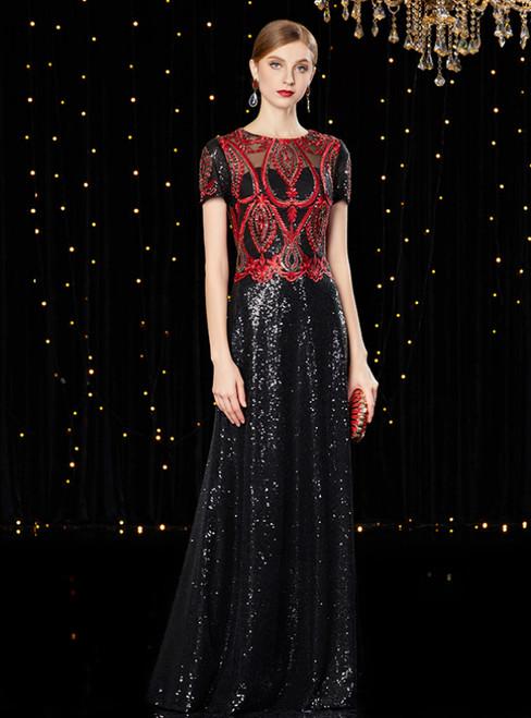 A-Line Black Sequins Short Sleeve Long Mother of the Bride Dress