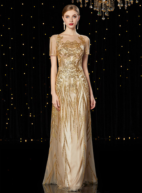 A-Line Gold Sequins Short Sleeve Floor Length Mother of the Bride Dress