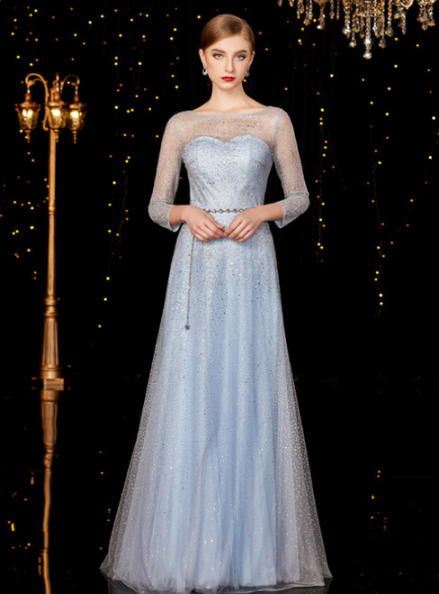 A-Line Gray Blue Tulle Sequins Long Sleeve Mother of the Bride Dress