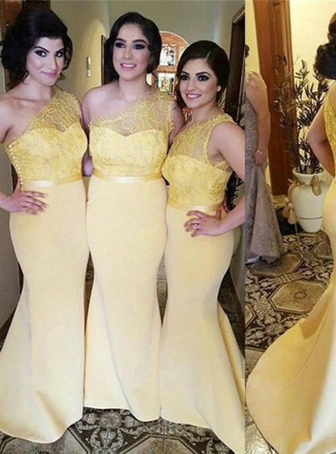 Yellow One Shoulder Lace Mermaid Charming Cheap Long Wedding Party Bridesmaid Dresses