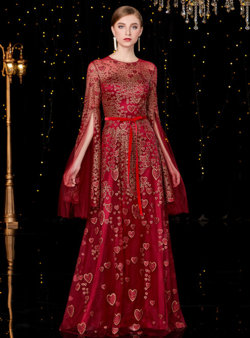 A-Line Dark Red Tulle Sequins Long Sleeve Mother of the Bride Dress