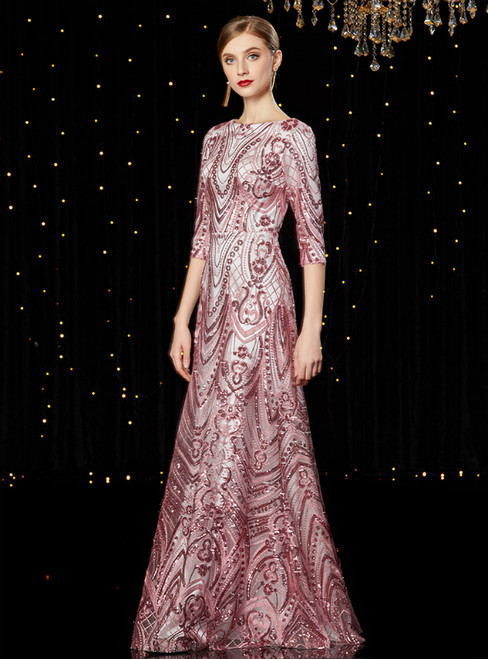 A-Line Pink Tulle Sequins 3/4 Sleeve Long Mother of the Bride Dress