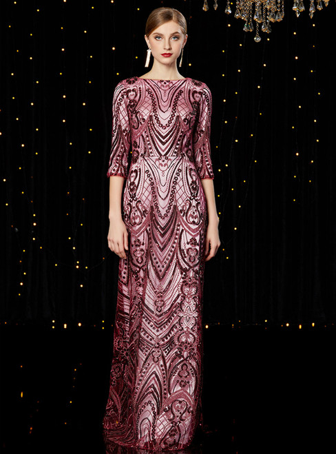 A-Line Purple Tulle Sequins 3/4 Sleeve Long Mother of the Bride Dress