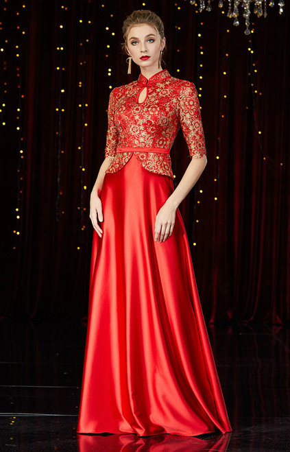 A-Line Red Short Sleeve Satin Lace Mother of the Bride Dress