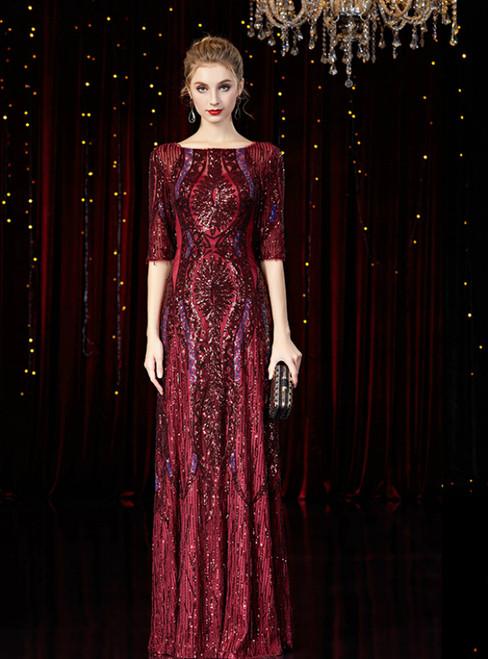 A-Line Burgundy Sequins Half Sleeve Mother Of The Bride Dress