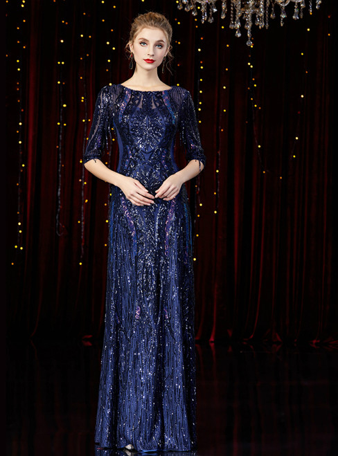 A-Line Dark Blue Sequins Half Sleeve Mother Of The Bride Dress