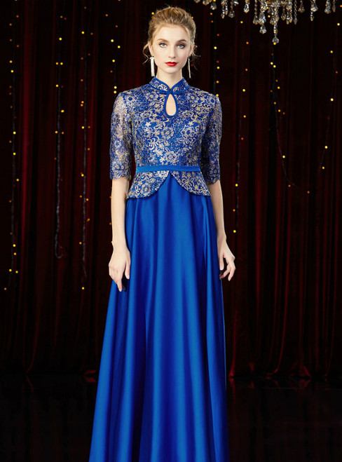 A-Line Blue Short Sleeve Satin Lace Mother of the Bride Dress