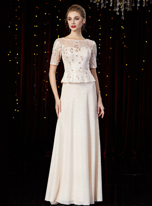 A-Line Champagne Sequins Short Sleeve Mother of the Bride Dress