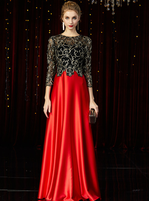 A-Line Red Satin Black Lace 3/4 Sleeve Mother of the Bride Dress