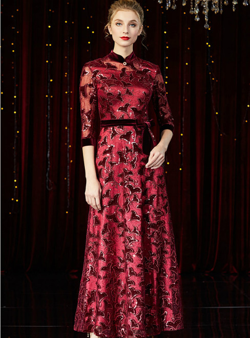 A-Line Burgundy Sequins 3/4 Sleeve Long Mother of the Bride Dress