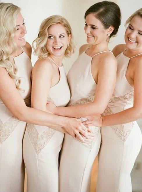 Unique Design Halter Charming Mermaid Sexy Lace Floor-Length Maxi Wedding Guest Dresses