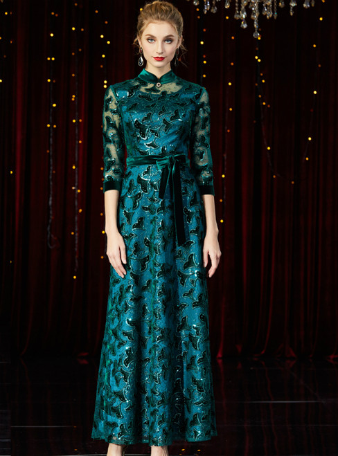 A-Line Green Sequins 3/4 Sleeve Long Mother of the Bride Dress