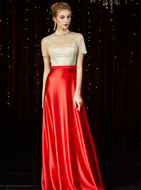 A-Line Red Satin Champagne Sequins Short Sleeve Mother of the Bride Dress