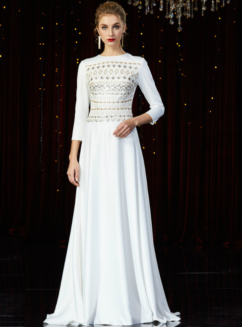 A-Line White Spandex Long Sleeve Sequins Mother of the Bride Dress