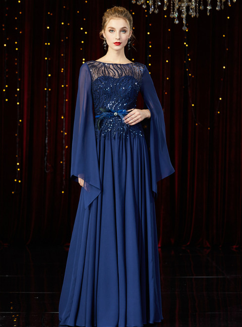 A-Line Navy Blue Chiffon Sequins Horn Sleeve Mother of the Bride Dress