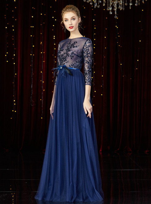 A-Line Navy Blue Tulle Sequins 3/4 Sleeve Long Mother of the Bride Dress