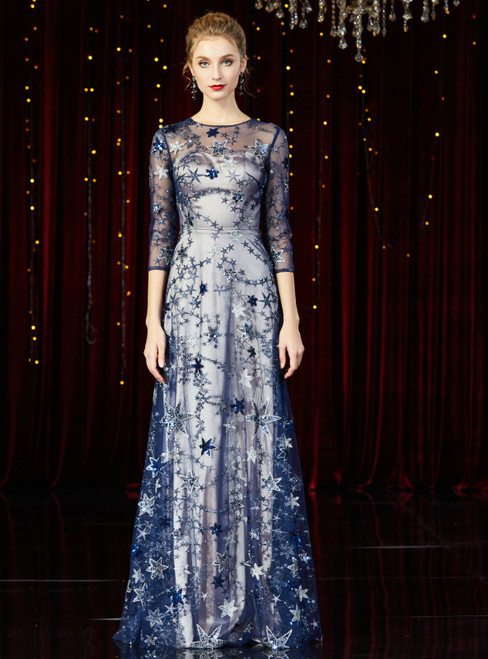 A-Line Blue Tulle Sequins 3/4 Sleeve Long Mother of the Bride Dress