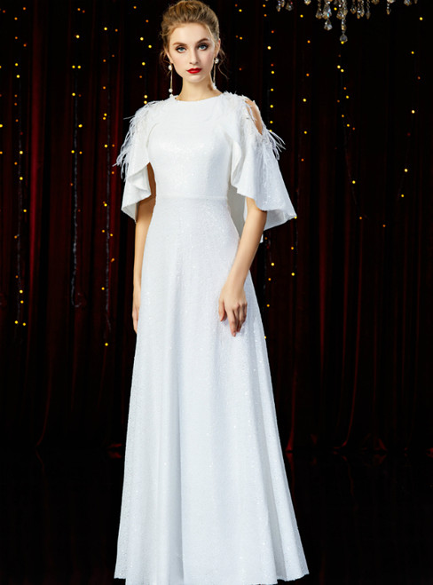 A-Line White Sequins Bat Sleeve Mother of the Bride Dress With Feather