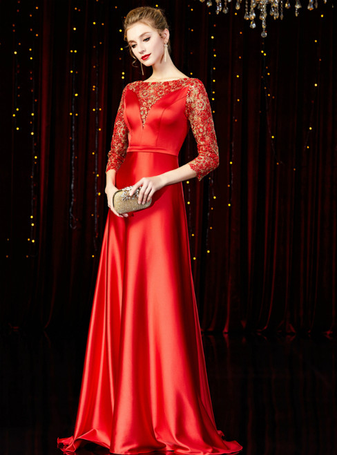 A-Line Red Satin Lace 3/4 Sleeve Mother of the Bride Dress
