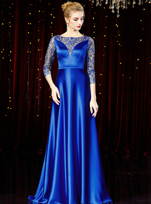 A-Line Blue Satin Lace 3/4 Sleeve Mother of the Bride Dress
