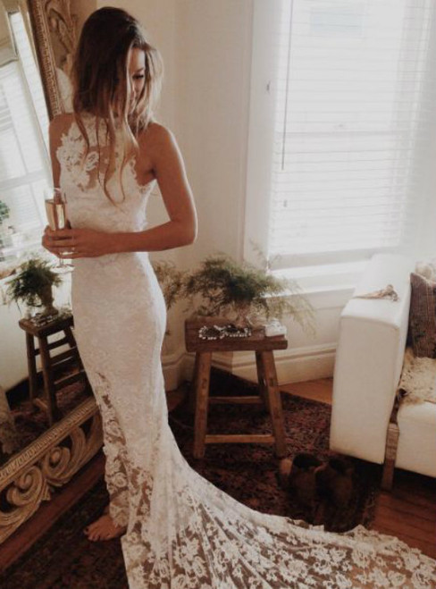 Wedding Dress Custom Made White Lace Wedding Dresses Halter Bridal Dress
