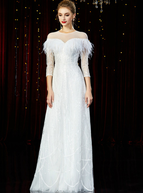 A-Line White Tulle Sequins 3/4 Sleeve Mother of the Bride Dress With Feather