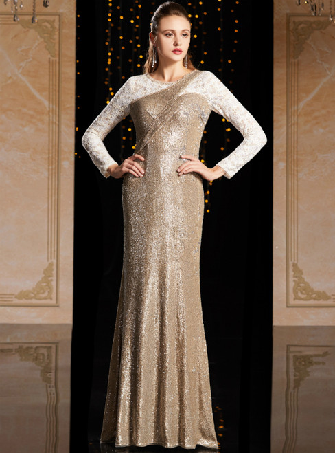 Gold Mermaid Sequins Lace Long Sleeve Mother Of The Bride Dress