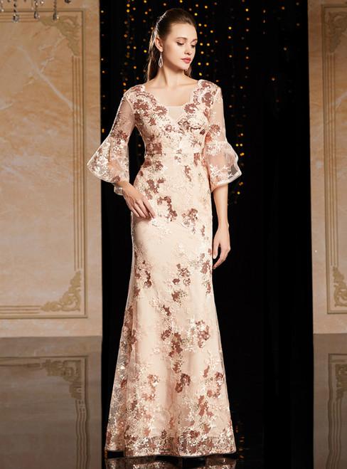 Champagne Sheath V-neck Sequins Horn Sleeve Mother Of The Bride Dress