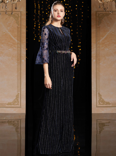 Navy Blue Velvet Sequins Horn Sleeve Mother Of The Bride Dress With Sash