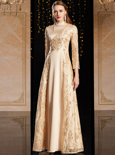 Champagne Tulle Satin Embroidery 3/4 Sleeve Mother Of The Bride Dress