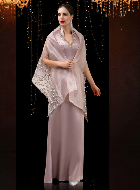 Champagne Mermaid Sequins V-neck Beading Mother Of The Bride Dress With Shawl