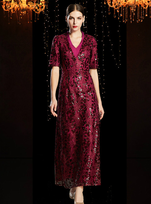 A-Line Burgundy Lace Sequins V-neck Short Sleeve Mother Of The Bride Dress