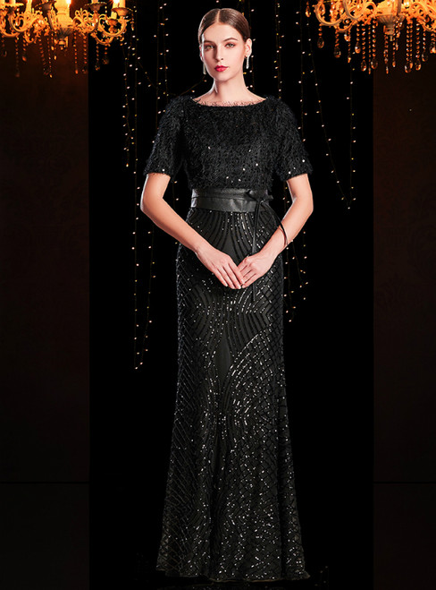 Black Sheath Sequins Short Sleeve Mother Of The Bride Dress