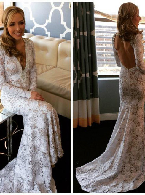 Wedding Dresses Backless Wedding Gowns Long Bridal Gown Sexy V Neck Wedding Dress