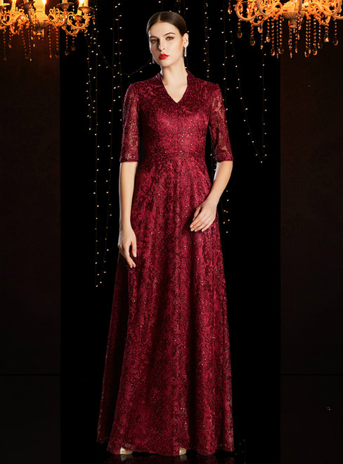 Elegant Burgundy Lace Sequins V-neck Short Sleeve Mother of the Bride Dress