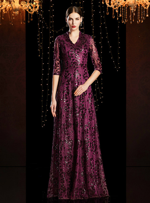 A-Line Purple Sequins V-neck Half Sleeve Mother of the Bride Dress