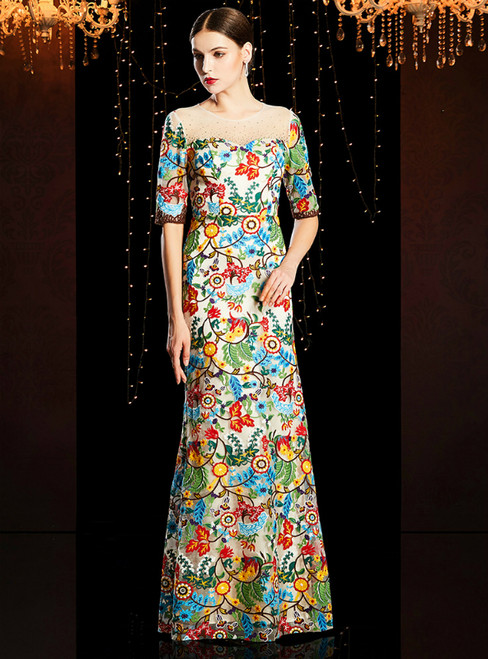 Colorful Embroidery Lace Short Sleeve Mother of the Bride Dress