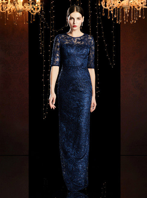 Navy Blue Lace Sequins Short Sleeve Mother of the Bride Dress