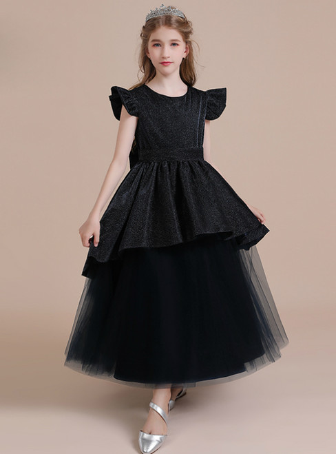 A-Line Black Tulle Long Flower Girl Dress With Bow