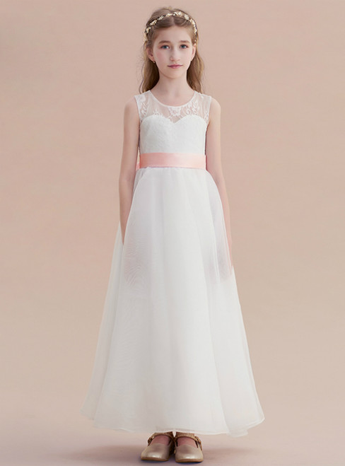 A-Line White Chiffon Lace Long Flower Girl Dress With Bow