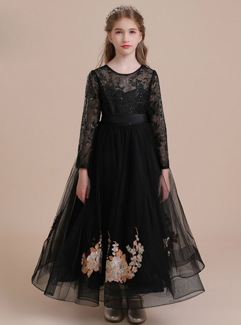 A-Line Black Tulle Lace Appliques Long Sleeve Flower Girl Dress