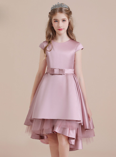 Pink Satin Tulle Hi Lo Cap Sleeve Sleeve Flower Girl Dress With Bow