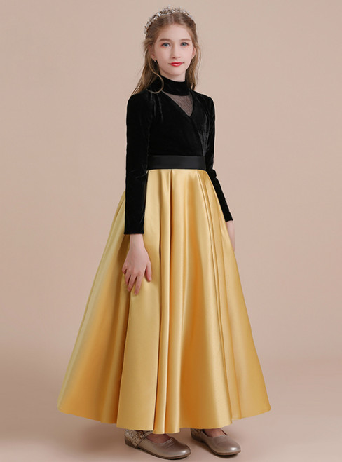 Black Velvet High Neck Gold Satin Long Sleeve Flower Girl Dress