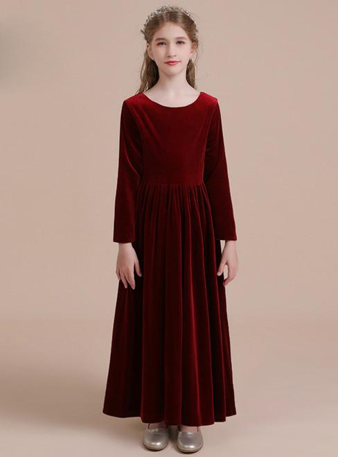 A-Line Burgundy Velvet Long Sleeve Long Flower Girl Dress
